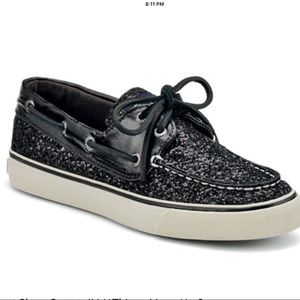 Sperry Boat shoe black sparkle